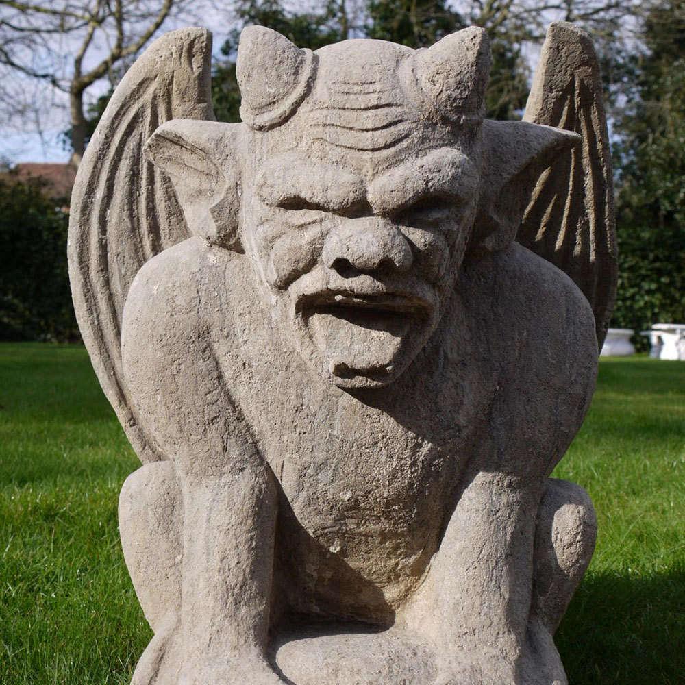 Large Hand Carved Gargoyle Stone Statue