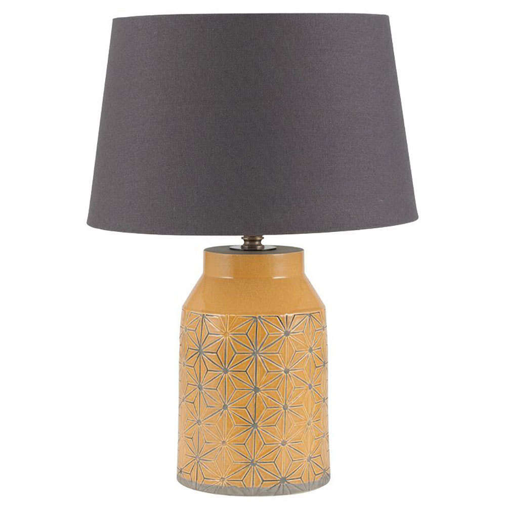 Charming Mustard Stoneware Etched Table Lamp