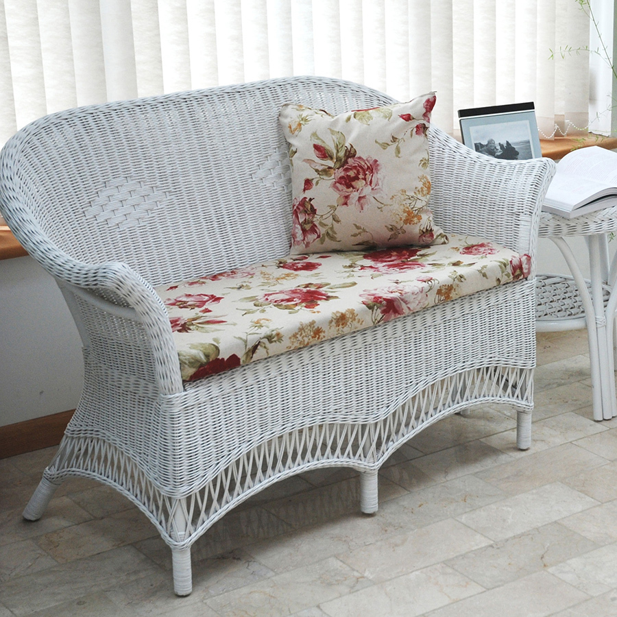 Small White Loom Style Conservatory Sofa Loom Style Candle And Blue