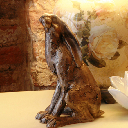 Paul Jenkins Moongazing Hare Bronze Hare Sculpture Candle And Blue
