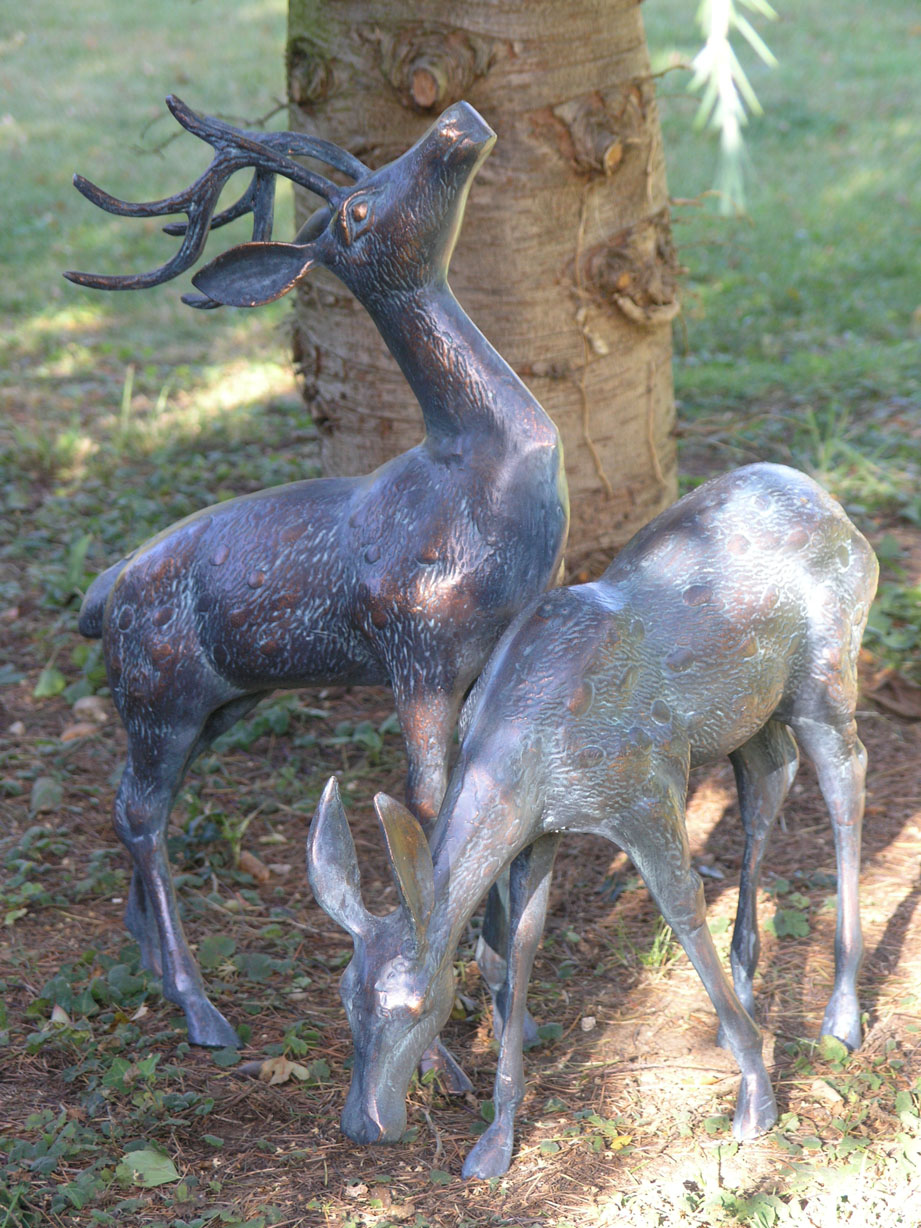 Small Metal Deer Garden Statues Pair|Bronze Stag Statues-Candle and ...
