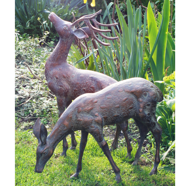 Small metal deer garden statues pair bronze stag statues candle and