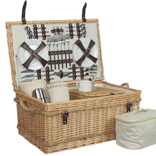 Luxury 6 Person Fitted Picnic Hamper Rope Handle