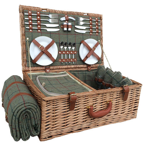 4 Person Green Tweed Willow Picnic Basket
