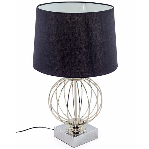 Chrome Cage Sphere Table Lamp And Black Shade