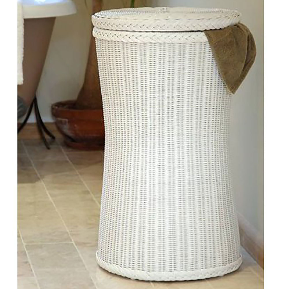 tall wicker laundry basket