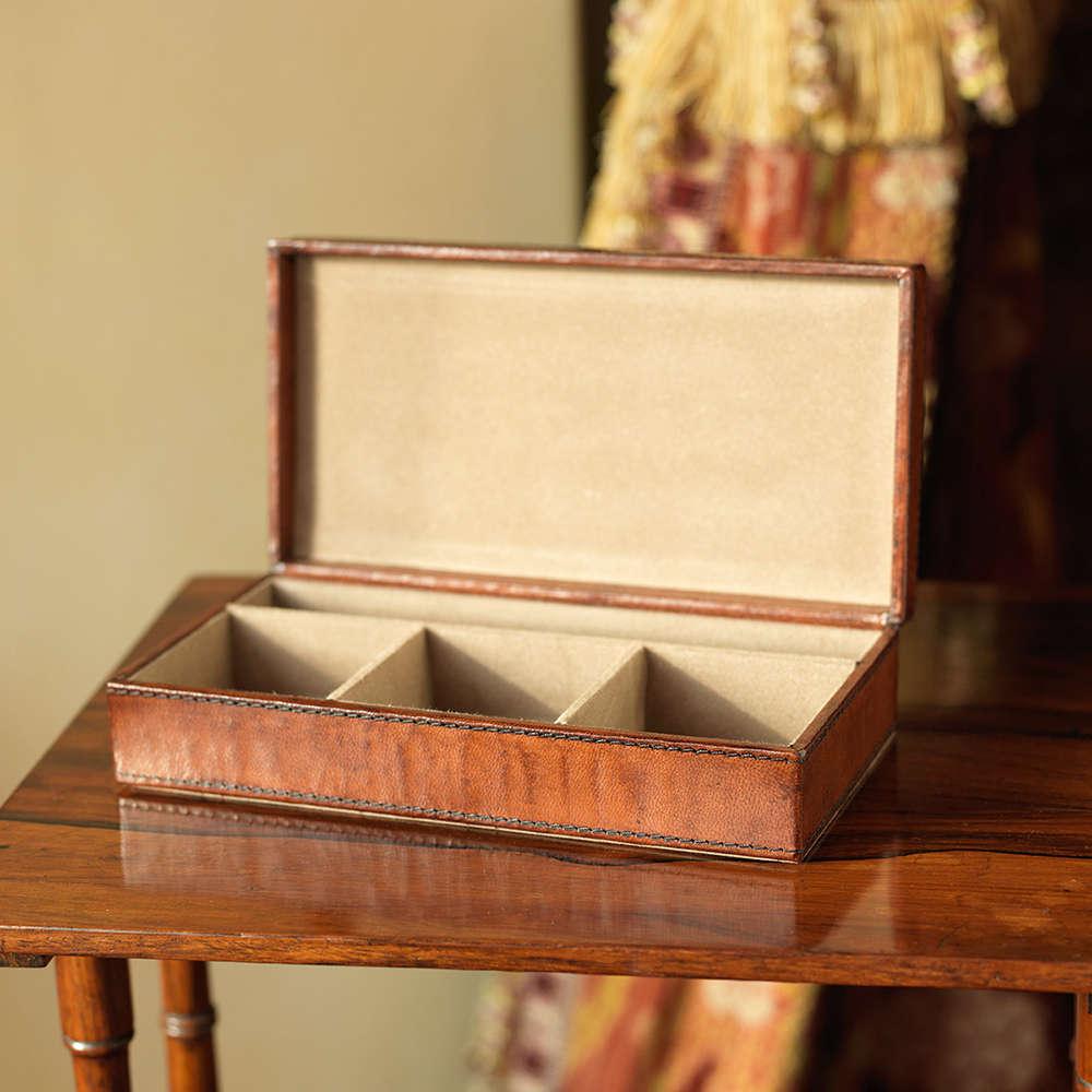 Leather Cufflink Box Small & Cufflinks Box|Leather Cufflink Storage Box|Watch Box - Candle and Blue Aboutintivar.Com