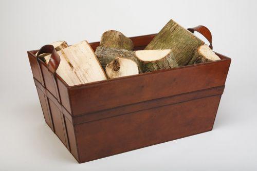 Superior ... Leather Log And Wood Storage Basket ...