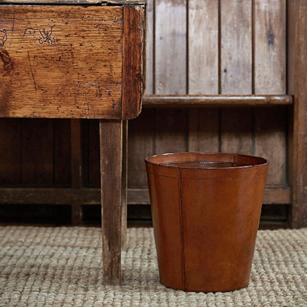 Leather Wastepaper Bins Leather Rubbish Bins Basket Candle And Blue