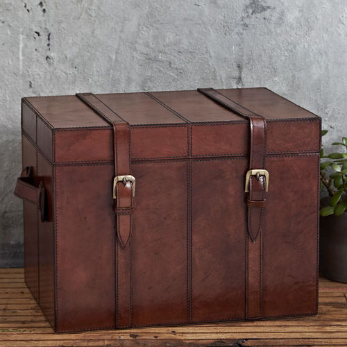 Leather Storage Trunk Small