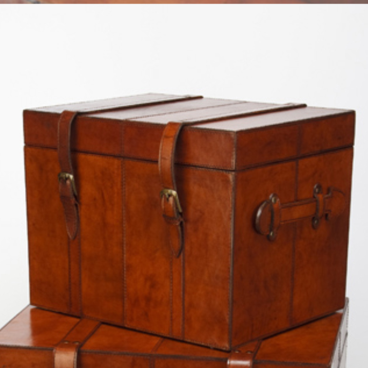 Leather trunks leather coffee table small leather chest candle and blue - Leather chests and trunks ...