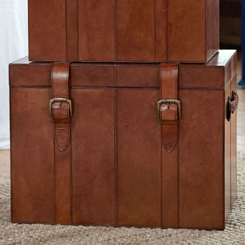 Leather Storage Trunk Large