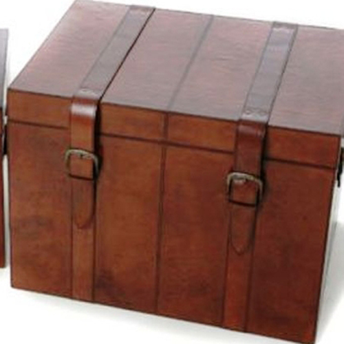 Leather storage trunk large leather chest large trunk candle and blue - Leather chests and trunks ...