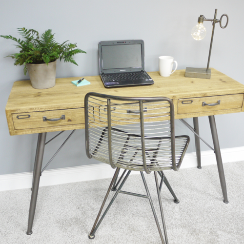 Narrow Wood Metal Console Table