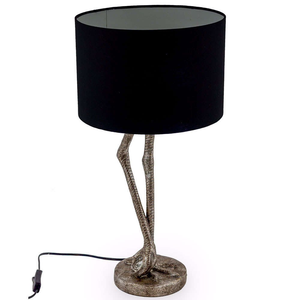 Flamingo leg silver finishbird table lampsmodern candle and blue flamingo leg table lamp black shade mozeypictures Gallery
