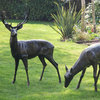 Pair of Metal Garden Sculptures Stag and Doe
