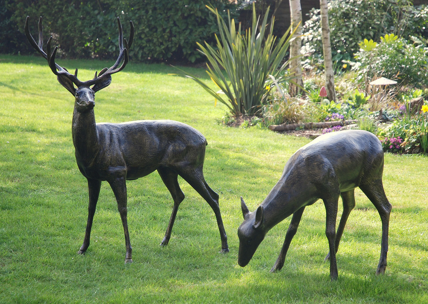animal garden. pair of metal garden sculptures stag and doe animal