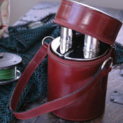Vintage Leather Two Flasks In Case