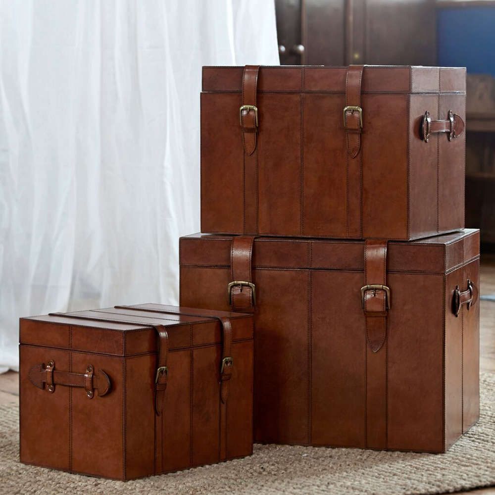 Set Of 3 Leather Trunks