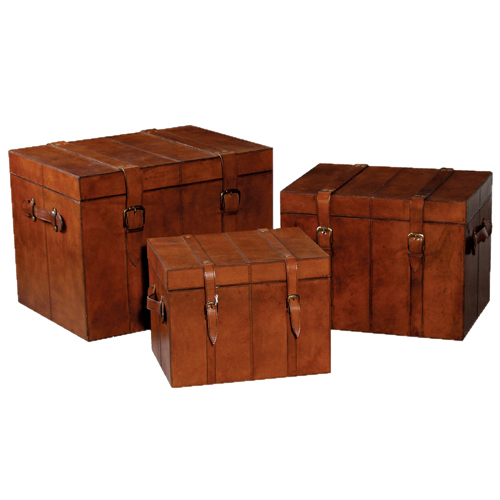 3 leather trunks leather storage box leather trunks candle and blue - Leather chests and trunks ...