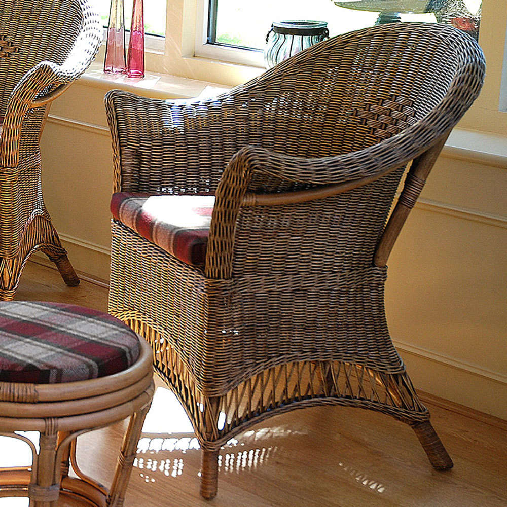 Loom Style Wicker Conservatory Chair Chestnut & Small Conservatory Chair Furniture For Conservatory - Candle and Blue