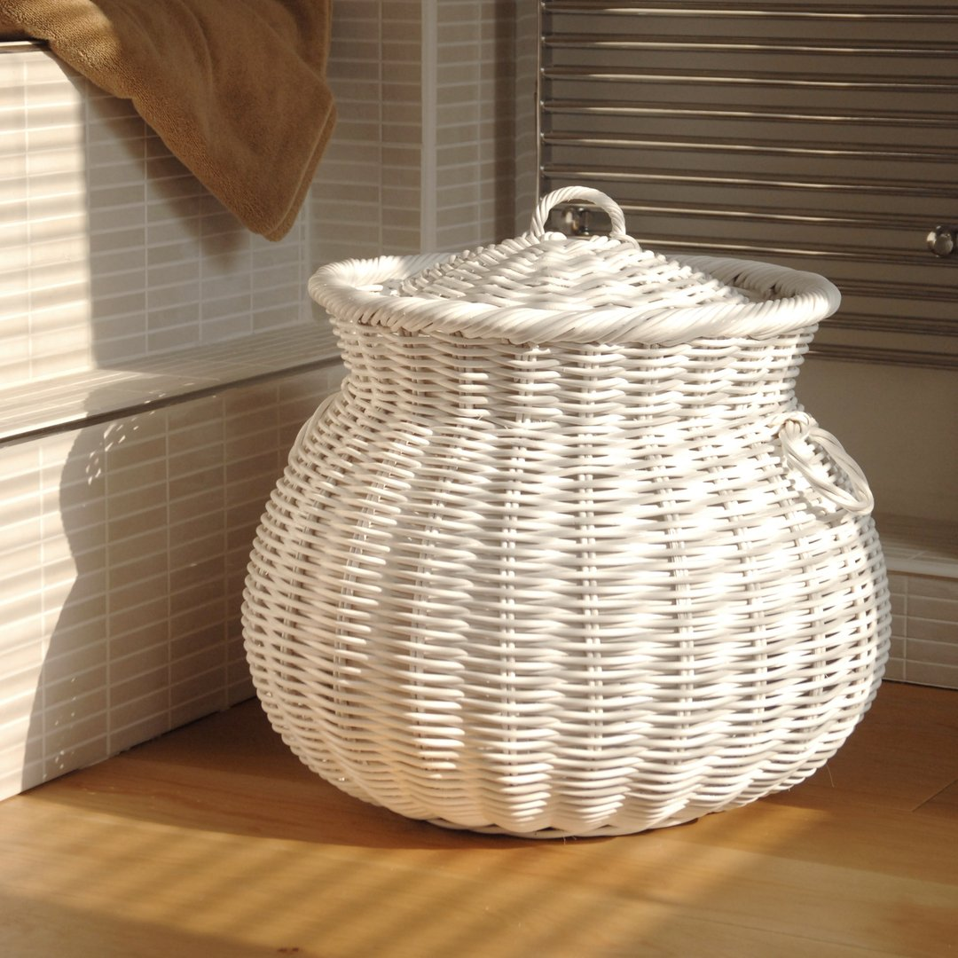 White Ali Baba Laundry Baskets Round Laundry Basket