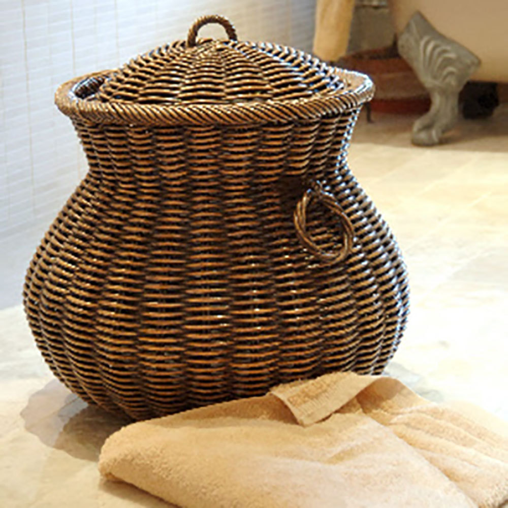 Large Ali Baba Style Wicker Laundry Basket Candle And Blue
