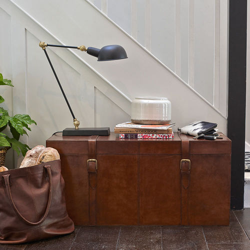 Large Brown Leather Storage Chest