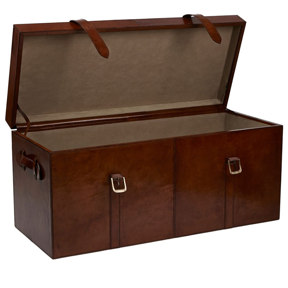 ... Large Brown Leather Storage Chest