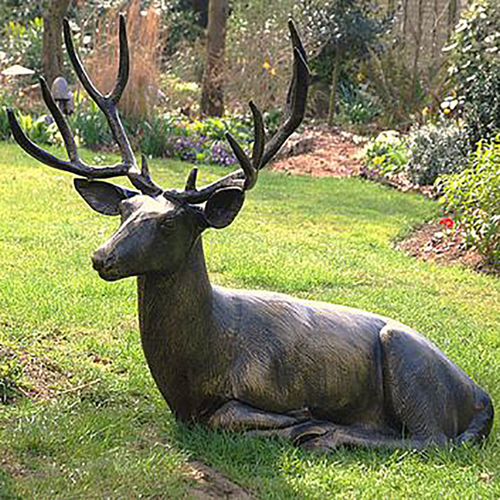 Life Size Laying Garden Stag Ornament Metal Stag Candle