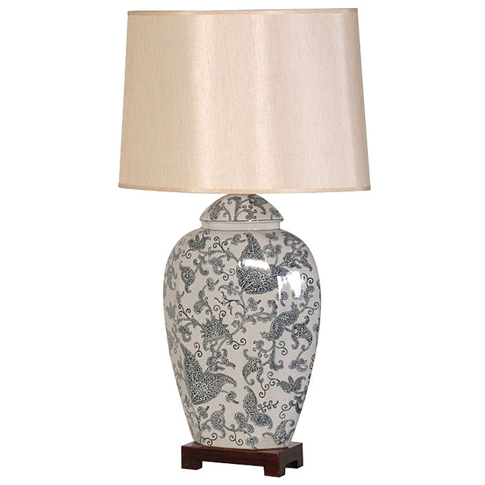 Blue paisley ceramic table lamp and shade