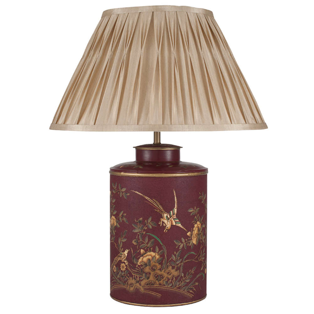 Beau Oriental Style Red Gold Bird Hand Painted Lamp