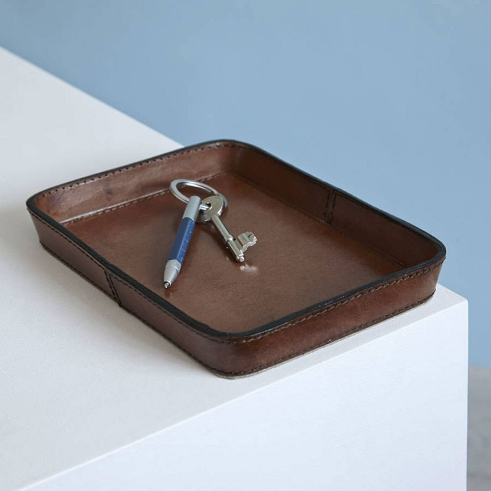 Brown Leather Key Tray Coin Leather Key Tray Tidy Tray