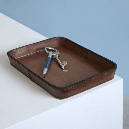 Brown Leather Key Tray