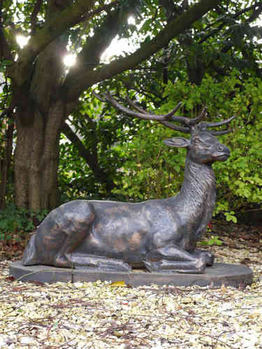 Garden Animal Doe SculpturesOwls StatuesGarden Art Candle and Blue