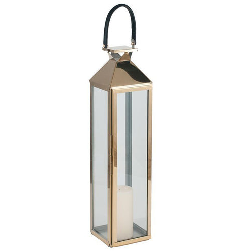 Shiny Gold S/Steel Hurricane Lantern Med