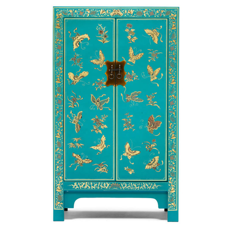 Chinese cabinet in blue oriental storage furniture for Oriental style sofas