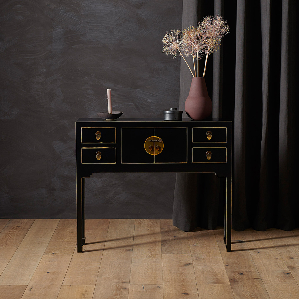 Small Narrow Black Console Table Chinese Furniture