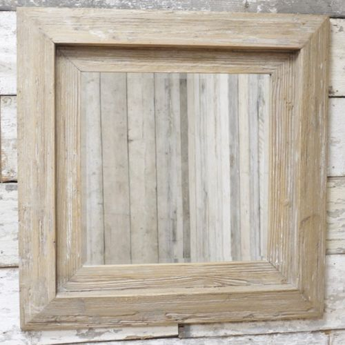 Large Square Wooden Wall Hung Mirror