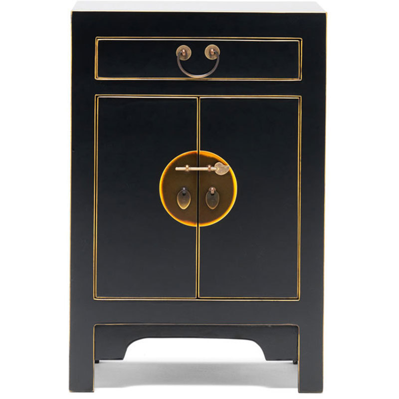 Black oriental style storage cabinet bedside table for Japanese bedside table