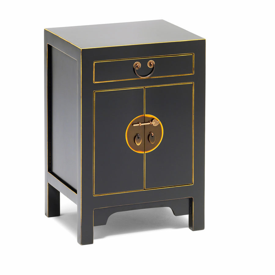 Black oriental style storage cabinet bedside table for Oriental cupboard