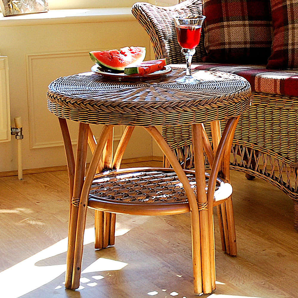 Round conservatory table with shelfcane small table candle and blue small round conservatory coffee table geotapseo Image collections
