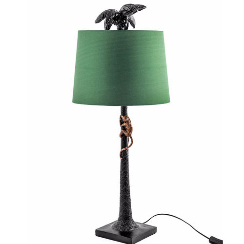 Tall Palm Tree Table Lamp And Green Shade