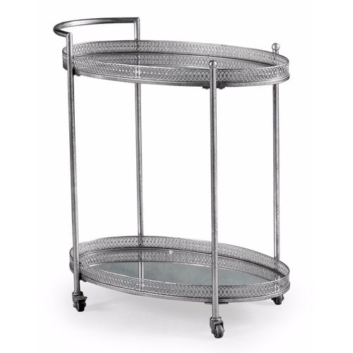 Silver Style Metal Drinks Tea Serving Trolley