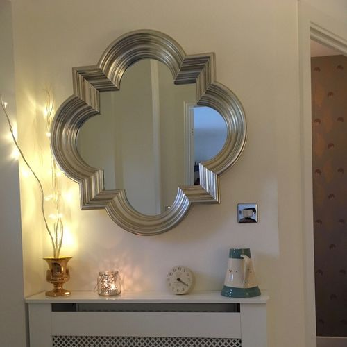 Large Silver Wall Hung Modern Mirror
