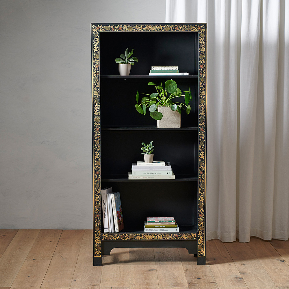 Chinese Style Black Tall Wooden Bookcase Bookcases Candle And Blue