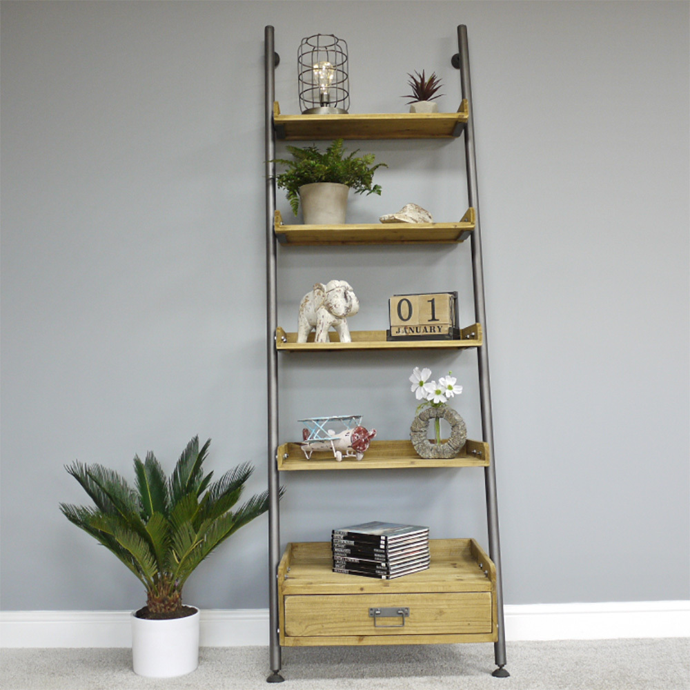 innovative design f4888 1c6ec Industrial Style Wooden Ladder Bookshelf