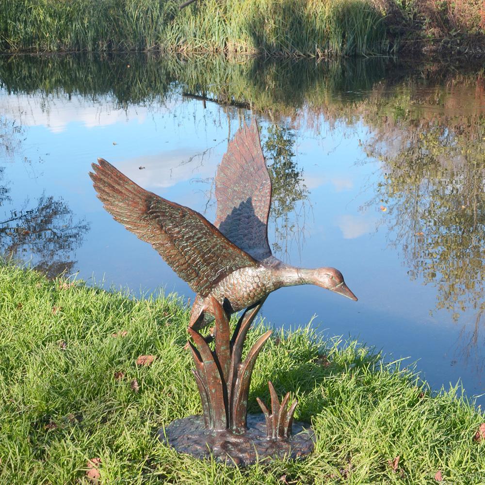 Duck Garden Sculptures Flying Duck Garden Ornament
