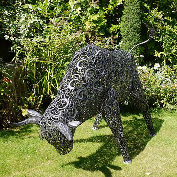 Large Metal Bull Garden Sculpture Art Sculptures Candle