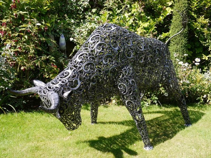 Large Metal Bull Garden Sculpture Art Sculptures Candle And Blue